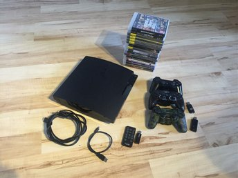Ps3 slim 320gb, 3 kontroller, 16 spel
