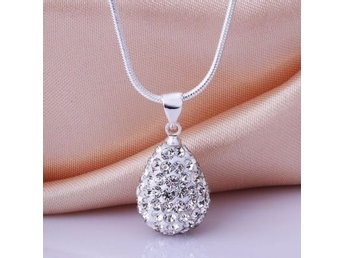 Vatten droppe / halsband Sterling Silver Crystal Water-Drop Necklace Pendant