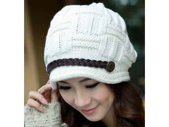 (SKU00156)Women Winter Warm Knitted Crochet Slouch Baggy Beret Hat (White)
