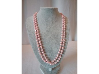 Vintage retro halsband längre rosa plast olikformade pärlor d2ba17355e735
