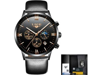 Klocka Herr Relogio Masculino LIGE Watch Leather black gold