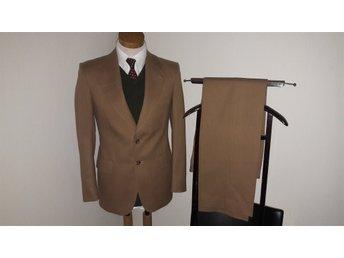 Brun 2-delad vintage Tiger of Sweden ull kostym kavaj blazer byxor retro 46 -48 30d9ae9dd969b