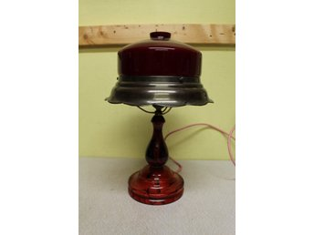 art deco bordslampa ny el i gammal stil fot i glas fint skick h42cm 1930tal