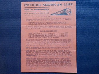 Reklamblad Swedish American Line M/S Kungsholmen 1954 from New York
