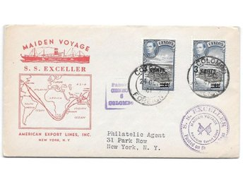 Maiden Voyage S. S. Exceller stpl Colombo 24/10 1941 censur