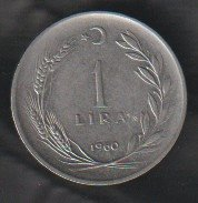 Turkey 1 Lira 1960 se bild