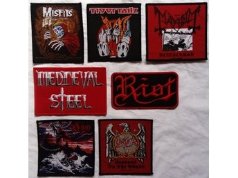 DIO/SLAYER/MAYHEM/MISFITS/RIOT/TIGERTAILZ/TYGMÄRKE/PATCH/HÅRDROCK/METAL