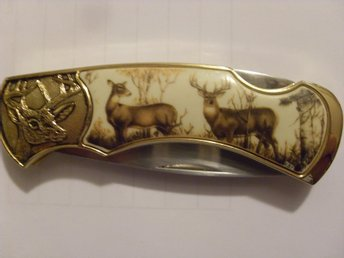 "FRANKLIN MINT COLLECTOR KNIVES MED FODRAL ""VITSVANSHJORTAR"""