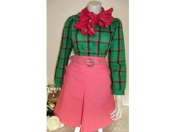VINTAGE grön rosa rutig blus puffärm retro boho office Capella 70 tal 36 S
