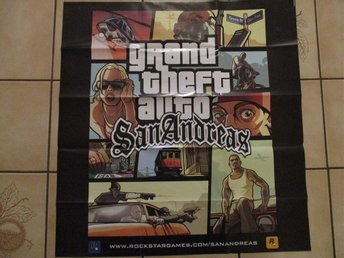 gran theft auto san andreas poster karta plansch playstation 2 ps2 gta