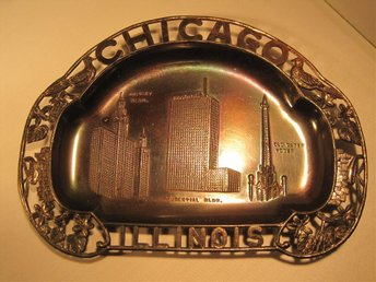 Souvenir USA Chicago Illinois. Amerika Vintage Retro 40-tal 50-tal 60-tal Metall