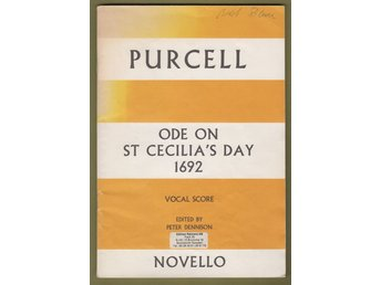 Purcell: Ode on St Cecilia's Day 1692, vocal score