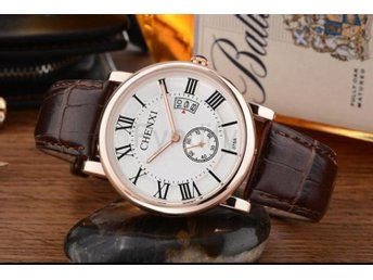 Klocka Herr Rose Gold Watch Men Leather White Dial