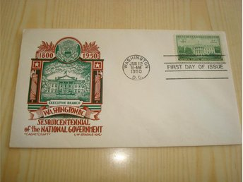 White House Washington Sesquicentennial 1800-1950 USA förstadagsbrev
