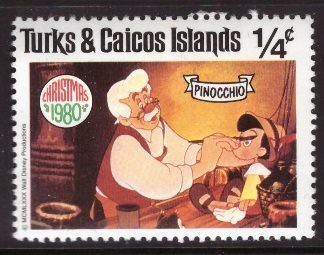 Disney, Turks and Caicos, 1/4-cent Pinocchio, Scott 442