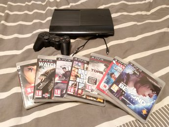 Sony Playstation 3 Slim, 500 GB med 7 st. spel