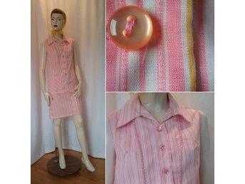 Vintage retro gul vit och rosa randig sommarklänning rak modell 60 tal