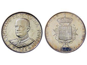 MALTA. 2 Scudi 1964. STORT VACKERT SILVERMYNT! Proof-like!