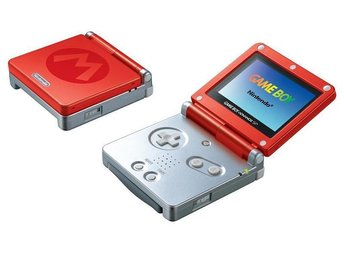 Gameboy Advance SP Basenhet Red and Silver Mario Edition - Gameboy Advance