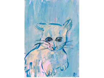 Akvarell, akryl Quee, Lilla katten drömmer reproduktion - Strömstad - Akvarell, akryl Quee, Lilla katten drömmer reproduktion - Strömstad