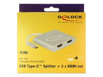 Delock USB Type-C™ Splitter (DP Alt Mode) > 2 x HDMI out 4K 30 Hz