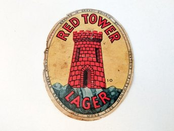 Red Tower Lager Beer Great Britain GB England öletikett
