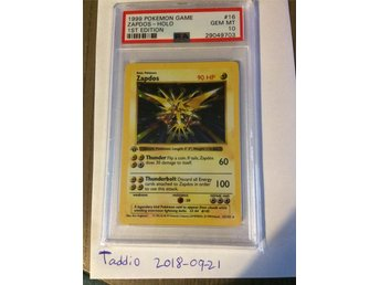 PSA 10 base set 1st edition Zapdos pokemon