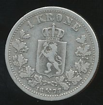 Norway 1877 1 Krona  se bild