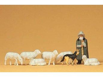 Preiser 14160 - Fåraherde med får och schäfer skala 1:87 - Munka-ljungby - Preiser 14160 - Fåraherde med får och schäfer skala 1:87 - Munka-ljungby