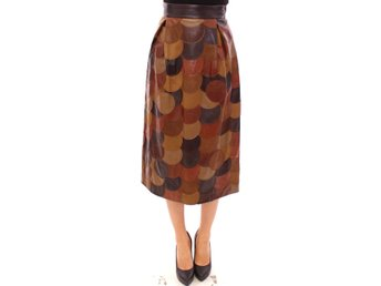 Dolce & Gabbana - Brown Patchwork Leather Straight Skirt