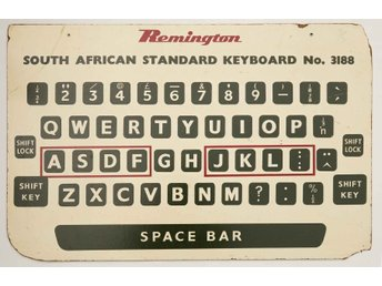 Sydafrika South Africa Skylt 61x92cm Remington South African Standard Keyboard