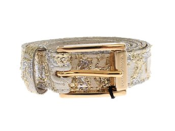 Dolce & Gabbana - Gold Beige Brocade Cotton Leather Waist Belt