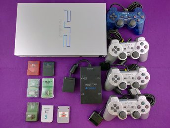 PS2 Konsol Paket Silver Edition 4HK Multitapp Minneskort