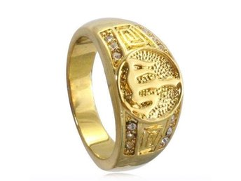 18K yellow gold plated Islam Muslim Allah crystal ring unisex charm Arabic