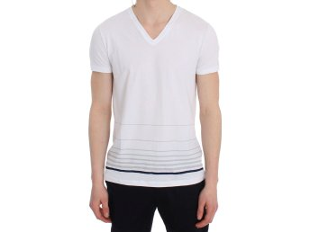 Ermanno Scervino - White Cotton Stretch V-neck Underwear T-shirt
