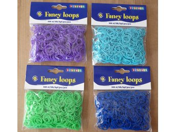 4 påsar x 500 st Fancy Loops Gummiband. ( Loom bands )