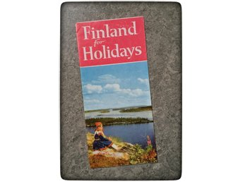 Finland for holidays 1962 Suomi folder broschyr turist Retro engelsk text