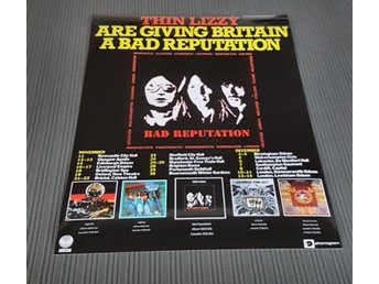 THIN LIZZY BAD REPUTATION UK TOUR 1977 PHOTO POSTER