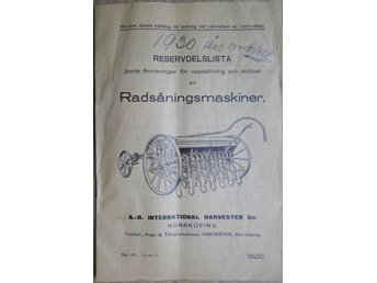 International Harvester Radsåmaskiner resevdelslista 1928