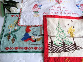 3 Handbroderade Julbonader Bonad Jul Retro