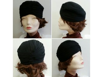 Vintage retro turban svart syntet