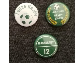 3 st, Hammarby, Bajen, pin/badge 25mm