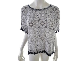 Hunkydory Short Sleeve Blouse Size L White 100% Cotton Flowers Sweden navy blue