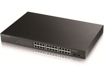 ZyXEL GS1900-24HP, 24-port GbE L2 PoE+ Smart Switch, rackmount,170Watt
