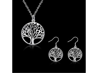 HELT NYTT!! 925 Silver Plated Pendant Jewelry Charm Necklace Filled TREE OF LIFE