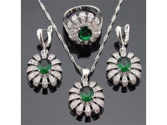Oval Grön Emerald 925 sterling silver halsband hänge Örhängen ring 20mm - Helsingborg - Oval Grön Emerald 925 sterling silver halsband hänge Örhängen ring 20mm - Helsingborg