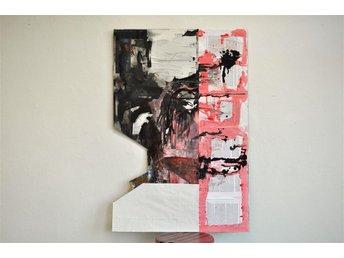 abstrakt stor målning konst akryl och papper på pannå - Göteborg - abstrakt stor målning konst akryl och papper på pannå - Göteborg