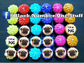 Mops - Pug tårtoblater - Cupcake / Muffin toppers
