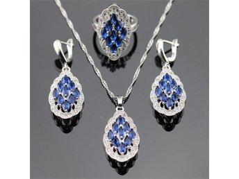 Oval blå safir 925 sterling silver halsband hänge Örhängen ring 18mm - Helsingborg - Oval blå safir 925 sterling silver halsband hänge Örhängen ring 18mm - Helsingborg