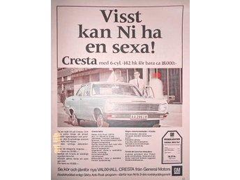 VAUXHALL CRESTA 6-cyl. GENERAL MOTORS TIDNINGSANNONS 1967 - öckerö - VAUXHALL CRESTA 6-cyl. GENERAL MOTORS TIDNINGSANNONS 1967 - öckerö
